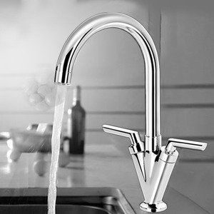 Two handle kitchen faucet with single hole